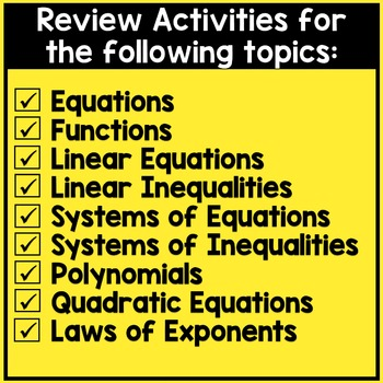 END OF YEAR Activities: Algebra 1 Review
