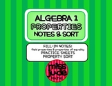 Properties of Real Numbers Graphic Organizer, Practice & Sort Activity