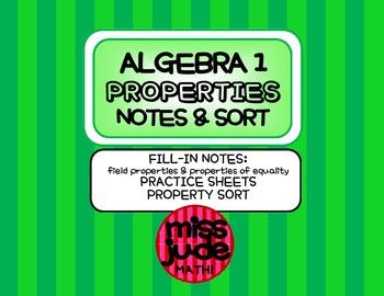Properties of Real Numbers Graphic Organizer, Practice & Sort Activity