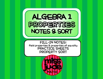 Properties of Real Numbers Graphic Organizer, Practice & S