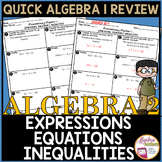 Algebraic Expressions, Equations and Inequalities Review