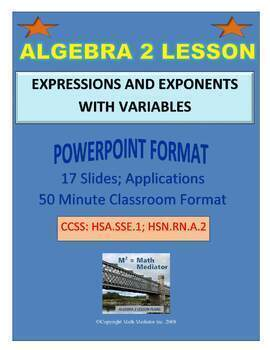 ALGEBRA 2 LESSON PLAN #4: EXPRESSIONS AND EXPONENTS