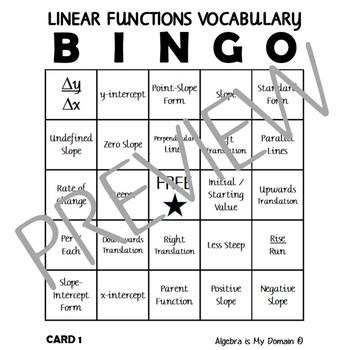 ALGEBRA ACTIVITY - Linear Functions Vocabulary Bingo