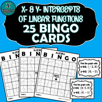 ALGEBRA BINGO - X- & Y-Intercepts of Linear Functions