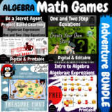 ALGEBRA End of the Year Activities Fun Math BUNDLE PBL Project Games Escape Room