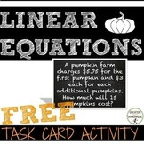 Linear Equation Activity Task Cards for Autumn FREE