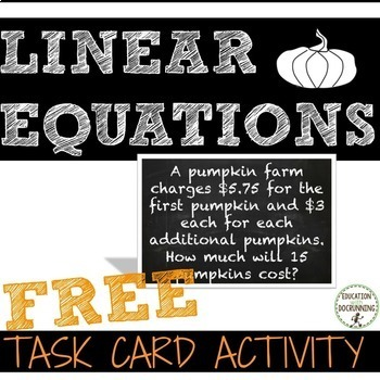 Linear Equation Task Cards for Autumn - FREE SAMPLE