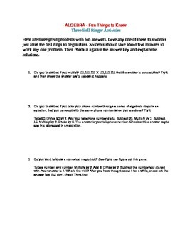 ALGEBRA - Fun Things to Know - Three Bell Ringer Activities