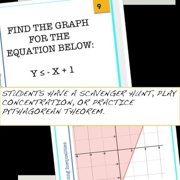 Graphing Linear Inequalities Task Cards for Centers and Activities