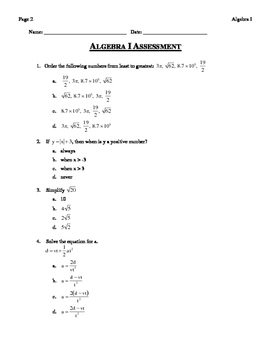 ALGEBRA I ASSESSMENT