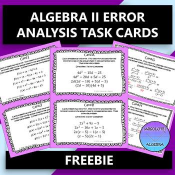 ALGEBRA 2 ERROR ANALYSIS TASK CARDS FREE