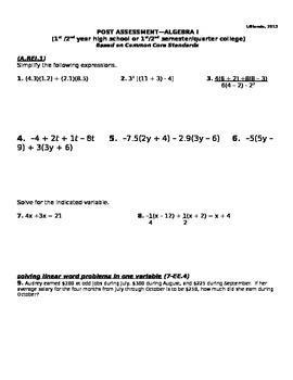 ALGEBRA I/II POST ASSESSMENT (ANSWER KEY INCLUDED)