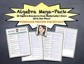 ALGEBRA MEGA-PACK! HUGE BUNDLE! 48 Resources in ONE PLACE