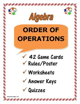 ALGEBRA ONE: ORDER OF OPERATIONS - Worksheets, Task Cards, Quizzes