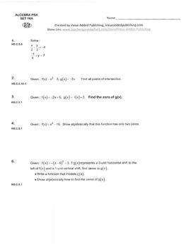 ALGEBRA PBA/EOY PRACTICE SET 16