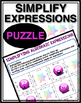 ALGEBRA SIMPLIFY EXPRESSIONS PUZZLE
