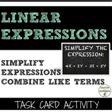 Simplifying Expressions - Combining Like Terms Task Card Activity