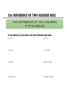 ALGEBRA - THE DIFFERENCE OF TWO SQUARES RULE