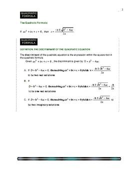 ALGEBRA - THE QUADRATIC FORMULA and THE DISCRIMINANT
