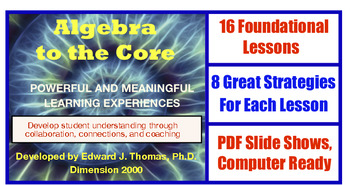 ALGEBRA TO THE CORE Powerful and Meaningful Learning Experiences