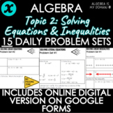 ALGEBRA - TOPIC 2 - Daily Problem Set, Bellringers - DISTA