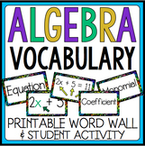 ALGEBRA VOCABULARY: WORD WALL AND STUDENT ACTIVITY