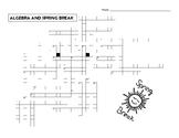 ALGEBRA Vocabulary Crossword Puzzle SPRING BREAK Theme