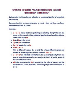 ALGEBRA WORKSHEETS - GATHERING LIKE TERMS
