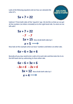 ALGEBRA WORKSHEETS - SOLVING EQUATIONS