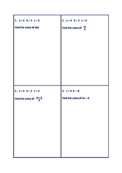 ALGEBRA WORKSHEETS - SUBSTITUTION