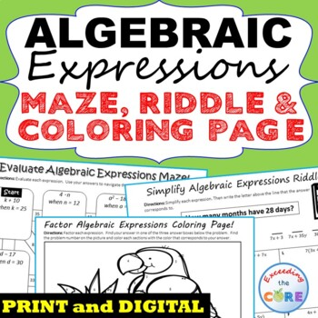ALGEBRAIC EXPRESSIONS Mazes, Riddles & Color by Number (Fun Activities)