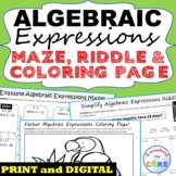 ALGEBRAIC EXPRESSIONS Mazes, Riddles & Color by Number (Fu