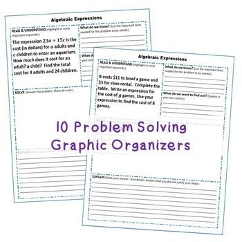 ALGEBRAIC EXPRESSIONS Error Analysis, Task Cards, Graphic Organizers, Puzzles