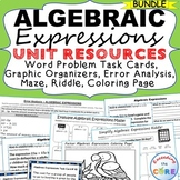 ALGEBRAIC EXPRESSIONS Bundle Error Analysis, Task Cards, Word Problems, Puzzles