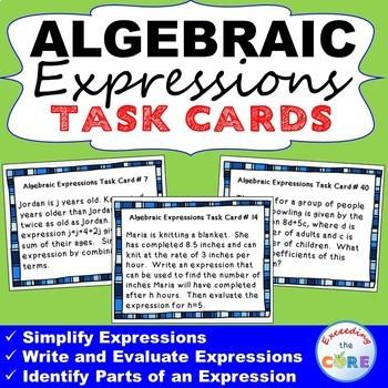 ALGEBRAIC EXPRESSIONS Word Problems - Task Cards {40 Cards}