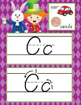 ALICE - Alphabet Cards, Handwriting, D'Nealian, ABC cards with pictures