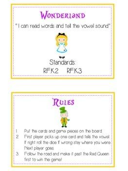 ALICE IN WONDERLAND Vowels- ELA First Grade Folder Game - Word Work Center