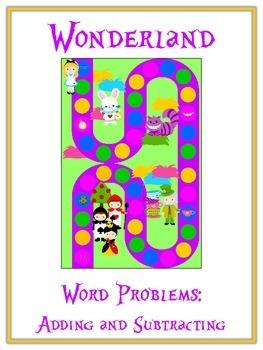 ALICE IN WONDERLAND - Word Problems Adding & Subtracting - Math Folder Game