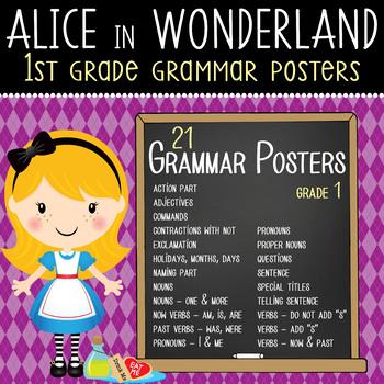 ALICE in WONDERLAND - 1st grade GRAMMAR posters / Scott Fo