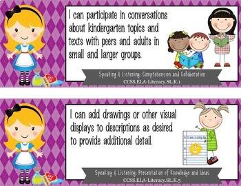 """ALICE in WONDERLAND - Kindergarten Common Core Standards """"I CAN"""" format"""