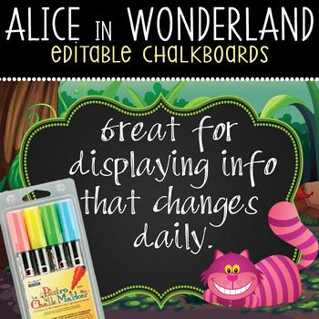 ALICE in Wonderland - Classroom Decor: editable chalkboard