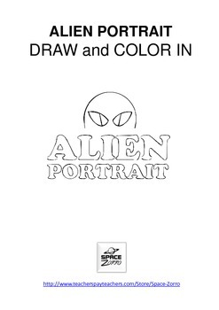 ALIEN PORTRAIT draw and color in sheets