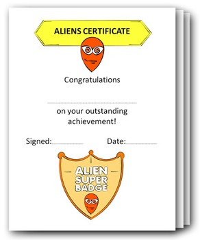 ALIENS writing paper + drawing paper + certificates + sketching sheets + badges