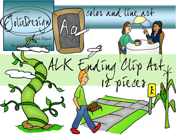 ALK Ending Phonics Clip Art Set - Color and Line Art 12 pc set