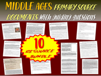 ALL 10 Medieval Europe Primary Source Documents with guidi