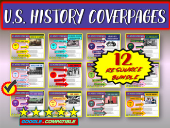 ALL 12 COVERPAGES / STUDY GUIDES for units of U.S. History