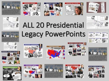 ALL 20 Presidential Legacy PPTs (300 slides, 30 handouts, cartoons, video links)