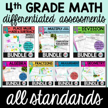 4TH GRADE MATH WORKSHEETS OR ASSESSMENTS (DIFFERENTIATED) BUNDLE