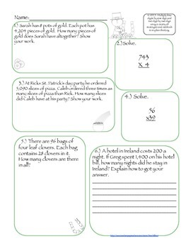 ALL 4th Grade Math Common Core Strands March Packet