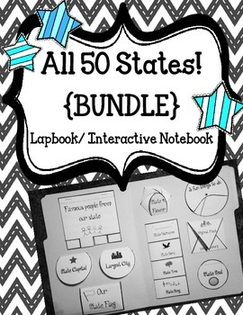 ALL 50 State Lapbook. Interactive Notebook. US History and Geography / BUNDLE
